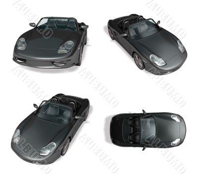 3d black convertible range four set