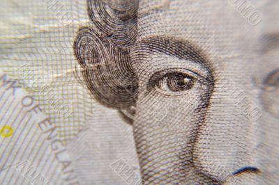 Macro shot of Queen Elizabeth, on a british five pound note