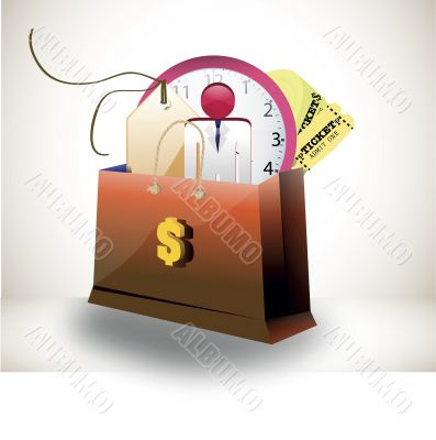 shopping bag with person price tag clock and tickets