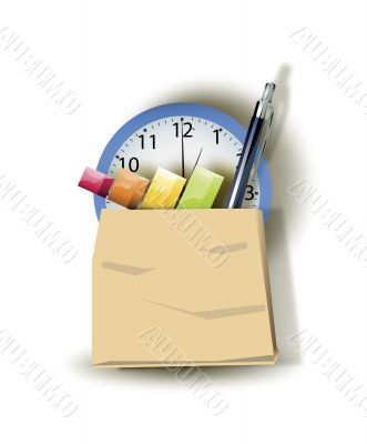 package with bar graph pen and clock