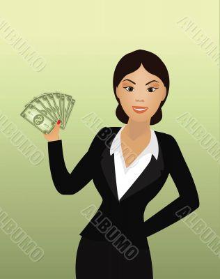 female with dollar