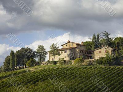 low angle shot of tuscan villa