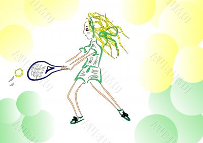 Tennis player. Lesson in tennis. Woman returns the ball racket.