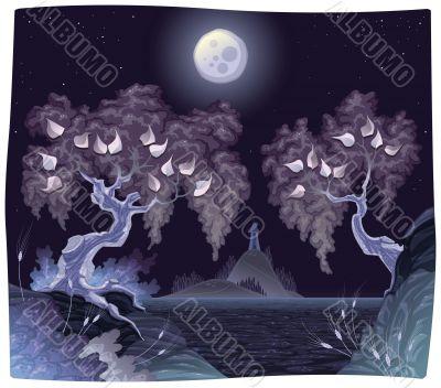 Romantic landscape on the sea in the night.
