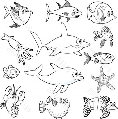 Family of funny fish.