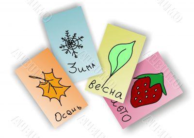 Seasons, cards, autumn, spring, summer, winter