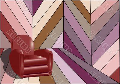 Strange interior with armchair