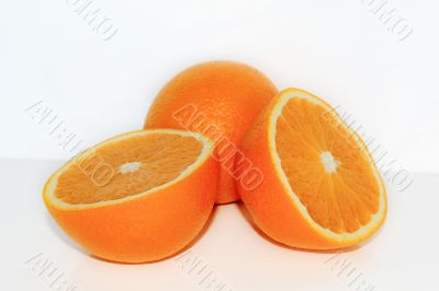 Appetizing ripe orange on white background