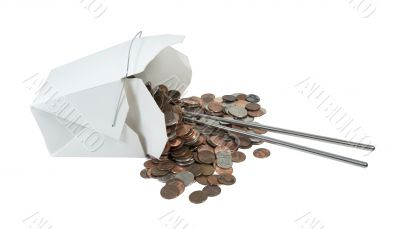 Spilled Take Out Box of Change with Chop Sticks