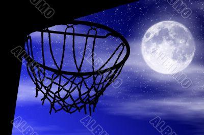 Basket silhouette moonlight