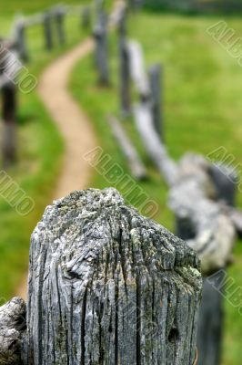 Wooden fence pole