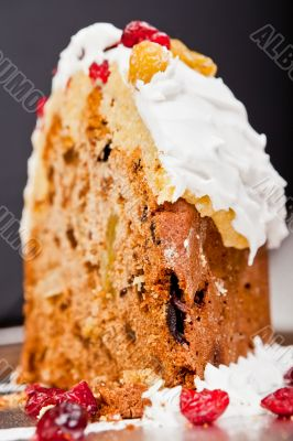 Christmas cake slice closeup