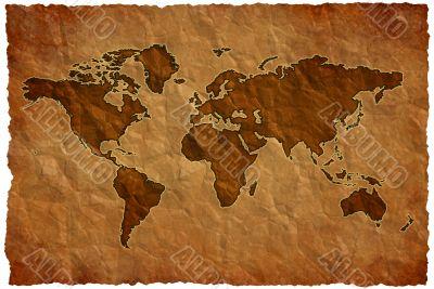 Crumple paper world map