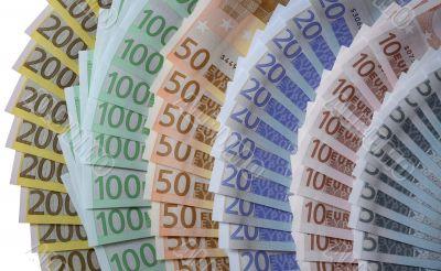 many banknotes of Euros form many fans