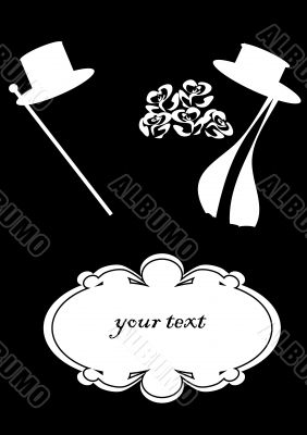 theatrical poster, black and white, retro, hat and cane