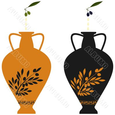 Amphora with image of olive branch and natural olives