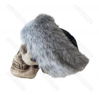 Mongolian Fur Cap on a Skull