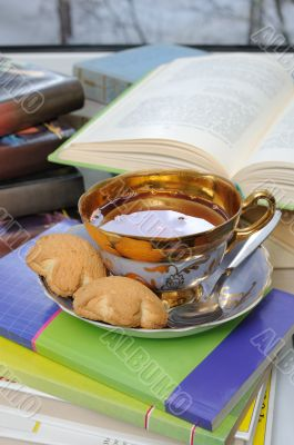 A cup of tea and biscuits on a stack of books