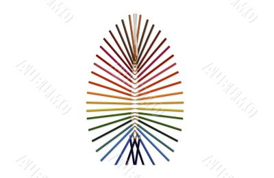 Pencils sorted by color form the shape of an egg