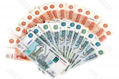 Many banknotes in red. Many Russian banknotes.