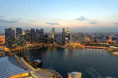 Singapore skycrapers and Marina Bay