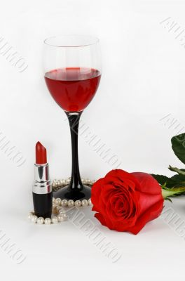 Rose, wine and candles