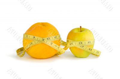 Measurement of orange and apple