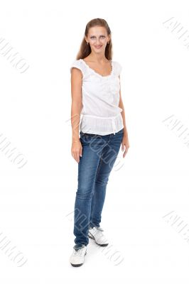 Full portrait of beautiful stylish girl in fashion stylish jeans