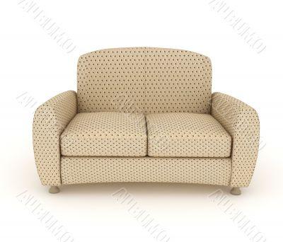 Modern beige leather sofa in a flecked