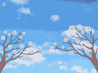 Two trees with delicate flowers pull branches into the sky, drawing
