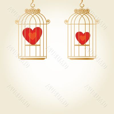 Heart in cage - vector
