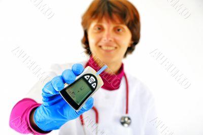 doctor checking diabetic`s blood sugar