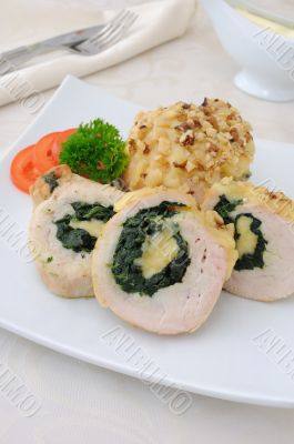 Chicken roulade stuffed with spinach and cheese