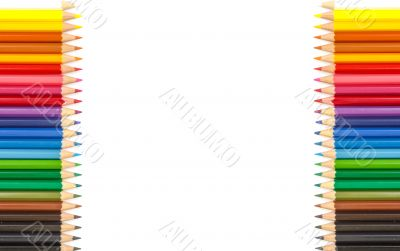 Colour pencils isolated and white background
