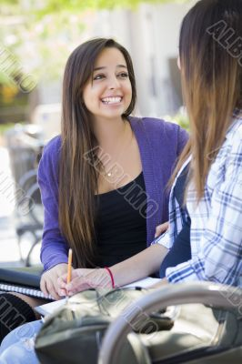 Expressive Young Mixed Race Female Sitting and Talking with Girl