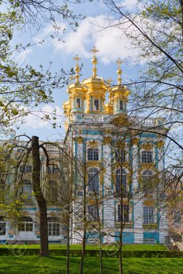 Dome of Russian Orthodox church of Catherine Palace