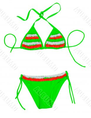 Green with red insert fashionable swimsuit