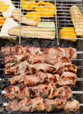 delicious skewers of meat and vegetables