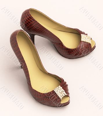 Crocodile leather women`s shoes with high heels