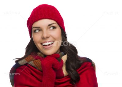 Mixed Race Woman Wearing Mittens and Hat Looks to Side