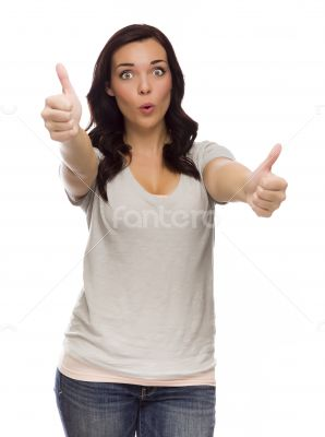 Wide Eyed Mixed Race Model Giving Thumbs Up on White