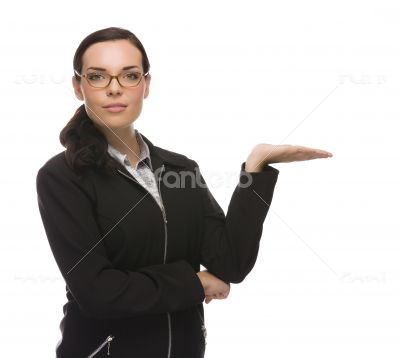 Confident Mixed Race Businesswoman Gesturing with Hand to the Side
