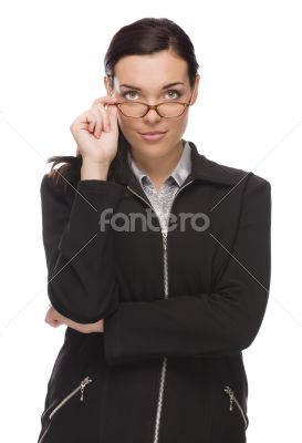 Confident Mixed Race Businesswoman Touching her Glasses