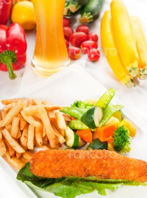 fresh chicken breast roll and vegetables