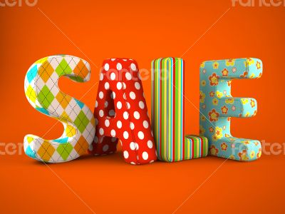 Sale word colorfull fabric on grey background
