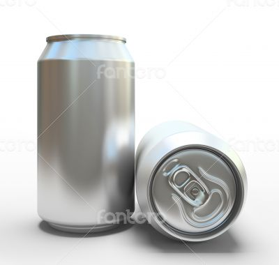 Blank alluminium cans on white background