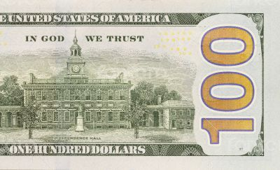 Back Right Half of the New One Hundred Dollar Bill