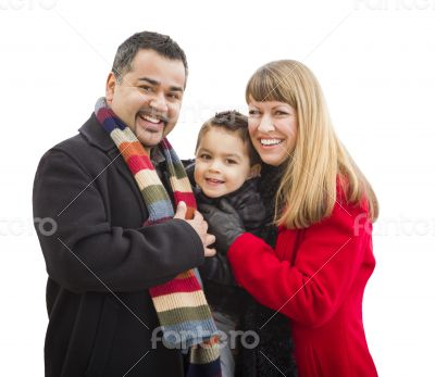 Happy Young Mixed Race Family Isolated on White