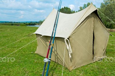 The tent from a canvas for fishing and tourism. Legacy sample.