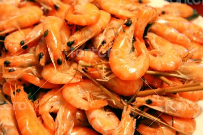 A Boiled Shrimps Background ready for eating